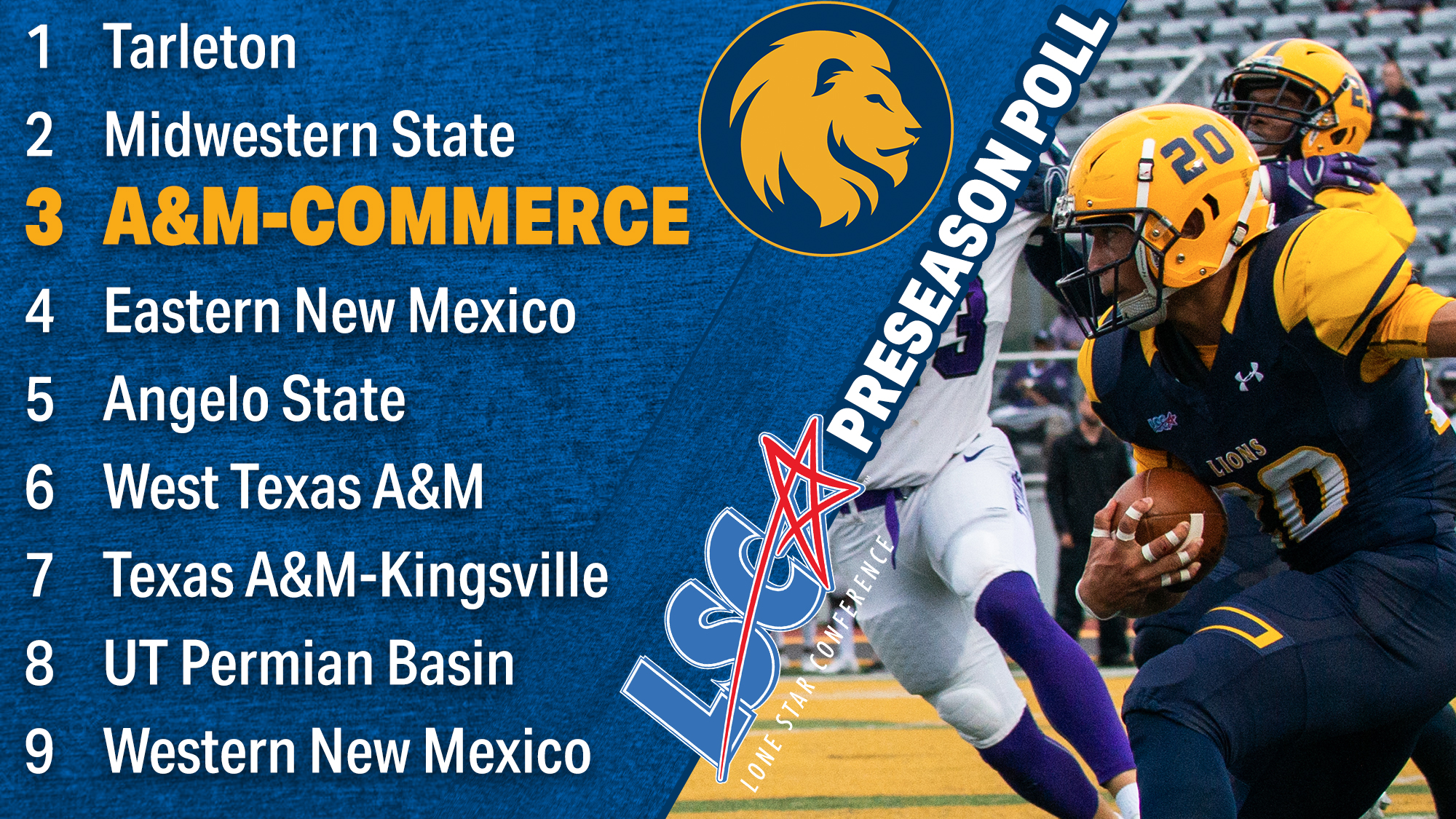 Football - Texas A&M University-Commerce Athletics